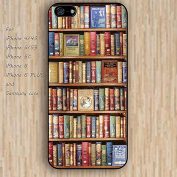 iPhone 4 5s 6 case bookshelf books watercolor dream catcher colorful phone case iphone case,ipod case,samsung galaxy case available plastic rubber case waterproof B636