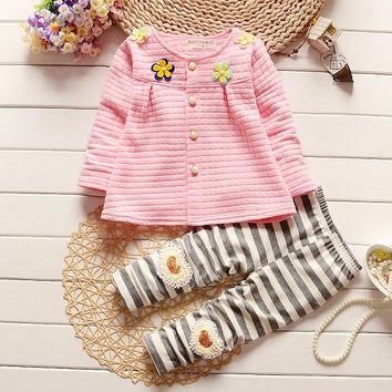 Kids Baby Girl Clothes 2017 Spring Fashion  Baby Stripe Clothing Set 3-24M Cotton Full Clothing With Pants Baby Girl Clothes