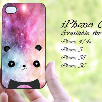 cute panda on galaxy nebula design iphone case for iphone 4 case, iphone 4s case, iphone 5 case, iphone 5s case, iphone 5c case