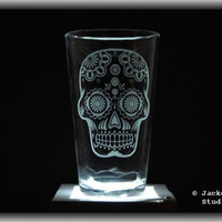 Etched Sugar Skull Pint Glass by Jackglass on Etsy