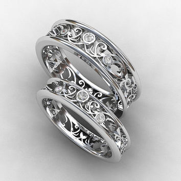 Wedding band set, white gold, diamond wedding band, mens diamond ring, filigree, diamond wedding, promise ring, ring set