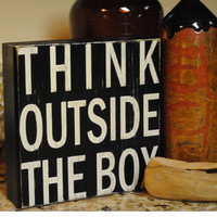 Think outside the box Little Block Signs by ExpressionsWallArt
