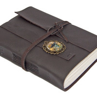 Dark Brown Leather Journal with Lined Paper and Pirate Cameo Bookmark