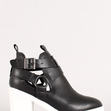 Wild Diva Lounge Buckle Cut Out Round Toe Ankle Boots