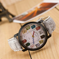 Unisex Vintage Style Casual Sports Leather Watch Best Gift 418