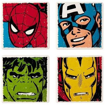 MARVEL Super Heroes Ceramic Coasters, Set of 4