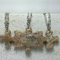Puzzle Necklace Polymer Clay  Friendship Jewelry Set of 3 Lace Design Set 236