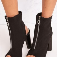 Gebriel Black Ring Zip Sock Boots