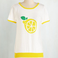ModCloth Fruits Mid-length Thank You Cherry Much Sweater in Lemon
