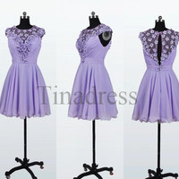 Custom Lavender Short Prom Dresses Bridesmaid Dresses 2014 Party Dresses Homecoming Dress Wedding Party Dress Party Dress Evening Dresses