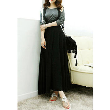 Black Pleated A-Line Suspender Boho Skirt