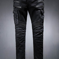 Black Multi-Zipper Stereo Pocket Design Pants