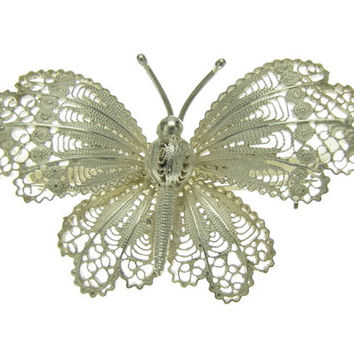 Vintage 800 Silver Filigree Butterfly Brooch Pin