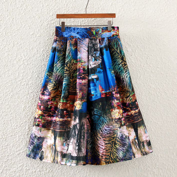Vintage Night Scene Print Pleated Midi Skirt