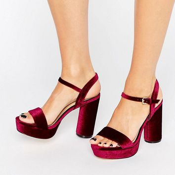 New Look Velvet Heeled Platform Sandal at asos.com