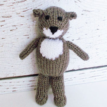 Hand Knit Otter, Woodland Stuffed Animal, Soft Toy, Ready To Ship, Plush Doll, Baby Boy or Girl Gender Neutral Infant Gift, Handmade Toy 7""