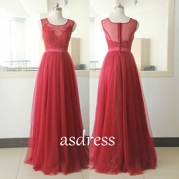 Red Party Lace Evening Gowns Homecoming dress Tulle Bridal Wedding dresses Long Wedding GOWNS