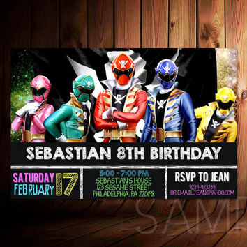 Power Rangers Super Megaforce Chalkboard Design For Birthday Invitation, Party Kids