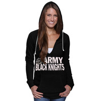 Army Black Knights Women's Burnout Fleece Pullover Hoodie - Black