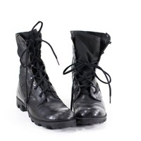 Vintage 90s Military Boots Black Leather Combat Boots Womens Size 8