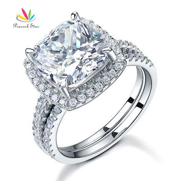 Clear 7 5 Carat Cushion Cut Created Diamond Wedding Anniversary Engagement Ring Set Solid 925 Sterling Silver Wedding Jewelry CFR8205