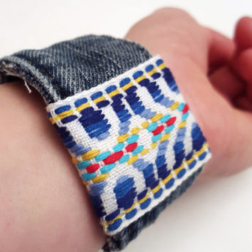 Upcycled Denim Cuff Bracelet with Vintage Trim / Unisex Boho Bracelet