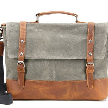 BLUESEBE MEN WATERPROOF WAXED CANVAS MESSENGER BAG WITH LEATHER TRIM FX2008-1