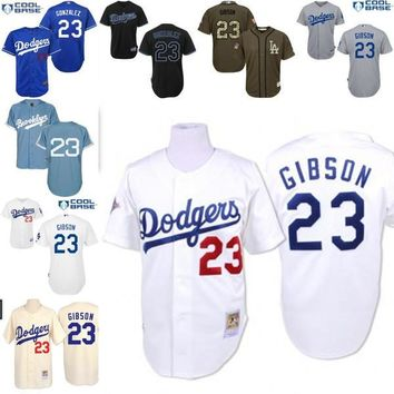 Cream white blue grey Throwback Kirk Gibson Authentic Jersey , Men's #23 Mitchell And Ness Los Angeles Dodgers