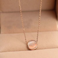 Simple Opal Rose Gold Titanium Necklace   171205