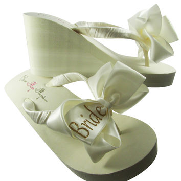 Bride Flip Flops with Glitter Bows- White or Ivory-Gold