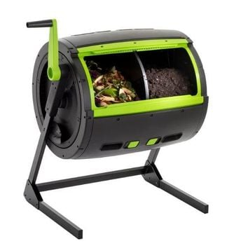 Rotating 65-Gallon Compost Bin Tumbler with 2 Compartments