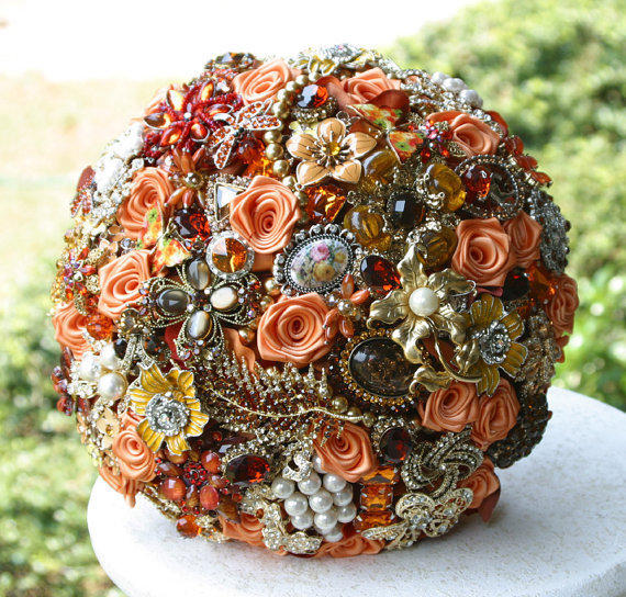 Autumn Brooch Wedding Bouquet. Burnt From Annasinclair On Etsy