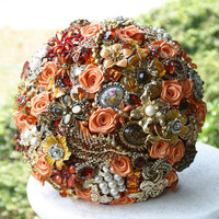 Autumn brooch wedding bouquet. Burnt orange, amber, yellow and chocolate. Deposit on a made to order bouquet below the picture