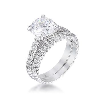2.1Ct Silvertone Baroque Style Wedding Set