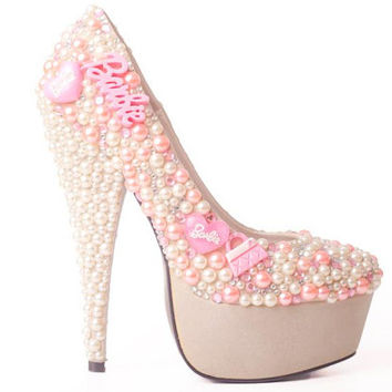 Custom Barbie Bling Pearl Diamante Pink Ivory Silver Shoes - Made to Order