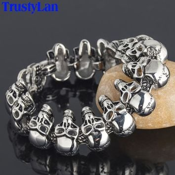 "TrustyLan Punk Skull Bracelet For Men 1"" Wide 8.27"" Long Stainless Steel Mens Friendship Bracelets & Bangles 2018 Gifts For Him"