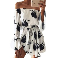 Womens Summer Beach Floral Boho Loose Printing Sexy Off the Shoulder Flare Sleeve Empire Flash Neck Mini Dress