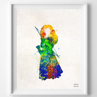 Brave, Merida, Princess, Print, Watercolor, Disney, Illustrations, Watercolour, Home Decor, Nursery, Baby, Room, Gift, Poster, Art [NO 691]