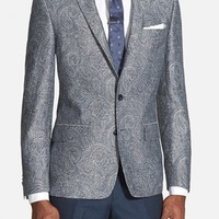 Men's John Varvatos Star USA Paisley Print Linen Peak Lapel Sport Coat