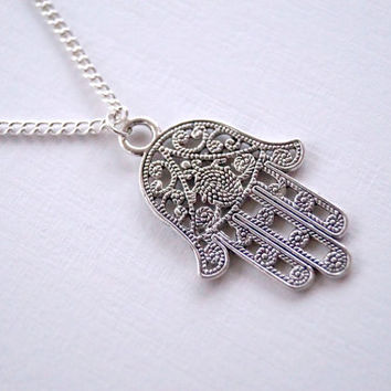 Long Length Hamsa Hand Necklace