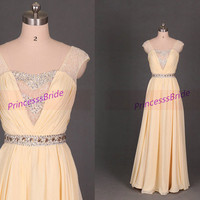 Latest floor length chiffon prom dress in custom colors,affordable yellowing bridesmaid gowns hot,unique women dresses for prom party.
