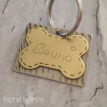 Personalized dog tag, hand stamped pet tag,dog ID tag, dog name tag, pet name tag