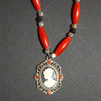 Handmade Silver, Red and Black Cameo Pendant Necklace from NotionsN'Potions