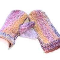 CLEARANCE SALE Chunky Mittens/Gloves Crocheted in Sunset Shades. Accessories, Handwarmers, Winter Warmers.