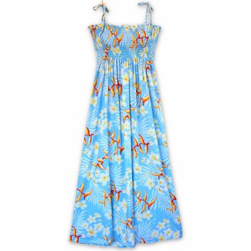 Heliconia Bliss Blue Maxi Hawaiian Dress