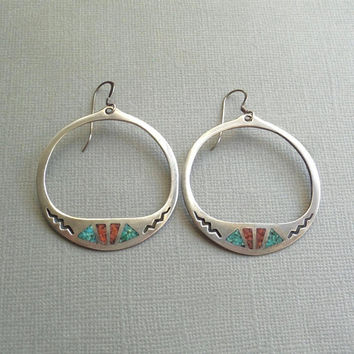Vintage Native American Indian STERLING Hoop EARRINGS Coral Turquoise Earring Hoops Inlay LARGE Navajo Dangles Pierced Ears