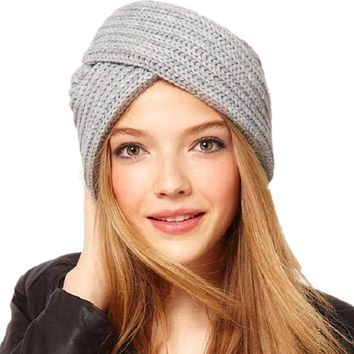 Novarena New Knitted Turban Ski Hat For Women Winter Beanies Cap Fashion Ladies Indian Turban Caps Solid Color Headwear Autumn Men Skullies Hats