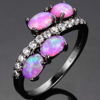 Women Pink Fire Opal Black Gold 10KT Filled Ring Lucky Wedding Finger Ring Round Big Ring New Fashion Black Jewelry Size 6/7/8/9 Alternative Measures