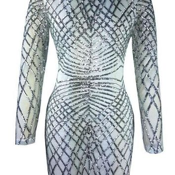 Silver Patchwork Sparkly Sequin Long Sleeve Bodycon Clubwear Mini Dress