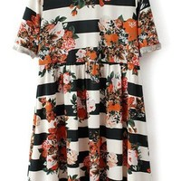 Striped Floral Short Sleeve Dress - OASAP.com